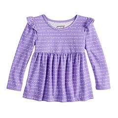 Baby Girl Jumping Beans® Long Sleeve Flutter Sleeve Printed Babydoll Top