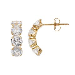 Kids' Taylor Grace 10k Gold Cubic Zirconia Semi-Hoop Earrings