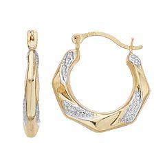 Kids' Taylor Grace Two Tone 10k Gold Twist Hoop Earrings
