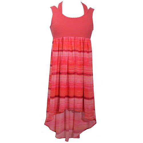 Girls 7-16 Bonnie Jean Striped Knit High-Low Hem Dress