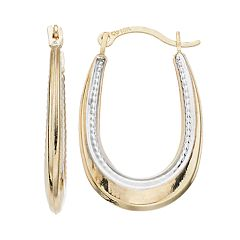 Kids' Taylor Grace Two Tone 10k Gold Oval Hoop Earrings