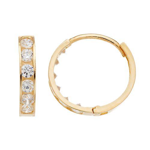 Kids' Taylor Grace 10k Gold Cubic Zirconia Hoop Earrings