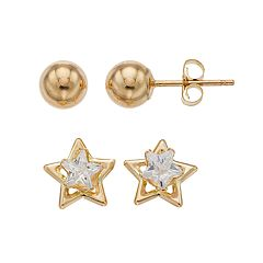 Kids' Taylor Grace 10k Gold Cubic Zirconia Star & Ball Stud Earring Set