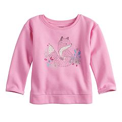 Baby Girl Jumping Beans® Glittery Animal Fleece Sweater