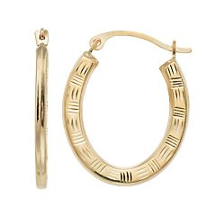 Kids' Taylor Grace 10k Gold Textured Oval Hoop Earrings