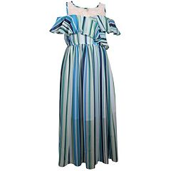 Girls 7-16 Bonnie Jean Cold Shoulder Ruffled Striped Maxi Dress
