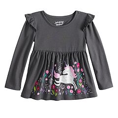 Toddler Girl Jumping Beans® Long Sleeve Flutter Sleeve Printed Babydoll Top