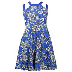 Girls 7-16 Bonnie Jean Floral Print Criss-Cross Strap Skater Dress