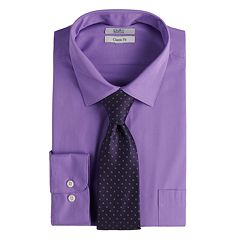 Big & Tall Croft & Barrow® Regular-Fit Stretch-Collar Dress Shirt and Patterned Tie Boxed Set