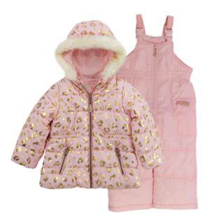 Girls 4-8 Carter's Leopard-Printed Jacket & Bib Snowpants Set