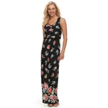 Juniors' Trixxi Floral Strappy Maxi Dress
