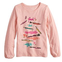 Girls 4-12 SONOMA Goods for Life® Shirred Glittery Graphic Tee