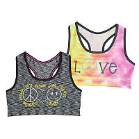 Girls 7-16 Mush 2-pack Peace & Love Seamless Sports Bras