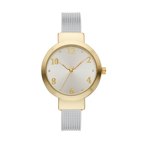 Women's Crystal Accent Textured Two Tone Cuff Watch