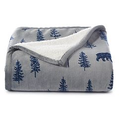 Cuddl Duds Printed Plush Sherpa Fleece Throw