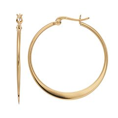 Primavera 24k Gold Over Silver Flat Hoop Earrings
