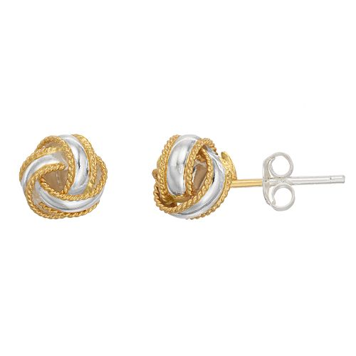 Primavera 24k Gold Over Silver Two Tone Love Knot Earrings
