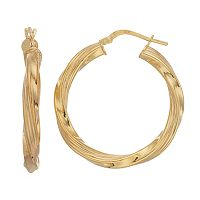 Primavera 24k Gold Over Silver Textured Twisted Hoop Earrings