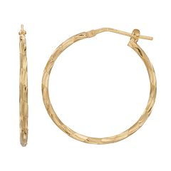 Primavera 24k Gold Over Silver Textured Hoop Earrings