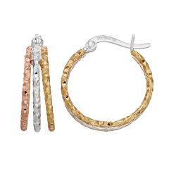 Primavera Tri-Tone Sterling Silver Triple Hoop Earrings