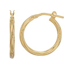 Primavera 24k Gold Over Silver Twisted Hoop Earrings