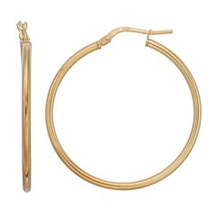 Primavera 24k Gold Over Silver Polished Tube Hoop Earrings
