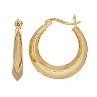Primavera 24k Gold Over Silver Knife Edge Hoop Earrings