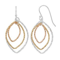 Primavera Tri-Tone Sterling Silver Open Marquise Drop Earrings