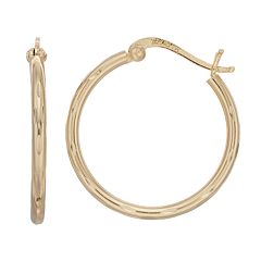 Primavera 24k Gold Over Silver Textured Tube Hoop Earrings