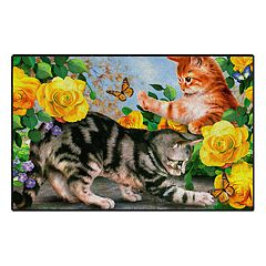 Brumlow Mills The Cat's Meow Floral Kittens Printed Rug