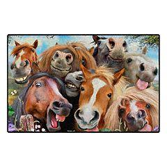 Brumlow Mills Selfies Horses Printed Rug - 30'' x 46''