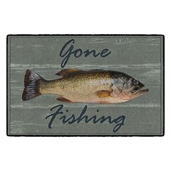 Brumlow Mills Gone Fishing Rustic Printed Rug