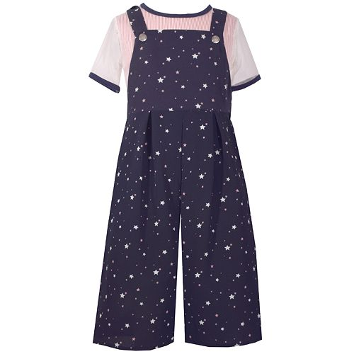 Girls 7-16 Bonnie Jean Star Print Overalls & Mesh Short Sleeve Tee Set