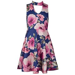 Girls 7-16 Bonnie Jean Floral Print Sleeveless Scuba Skater Dress