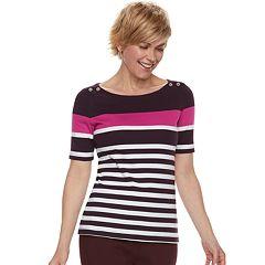 Women's Croft & Barrow® Button-Shoulder Boatneck Elbow Sleeve Top