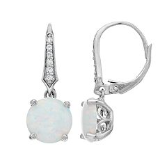 Sterling Silver Round-Cut Simulated Opal Leverback Earrings