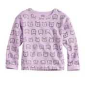 Girls 4-10 Jumping Beans® Crewneck Fleece Cat Print Sweatshirt Top
