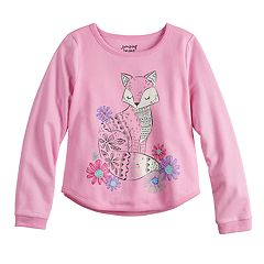 Girls 4-10 Jumping Beans® Curved Hem Crewneck Graphic Sweatshirt