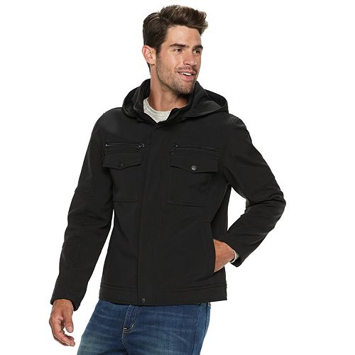 Men's Urban Republic Softshell Hooded Moto Jacket
