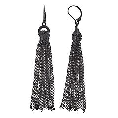 Simply Vera Vera Wang Black Tassel Drop Earrings
