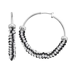 Simply Vera Vera Wang Black & White Bead Hoop Earrings