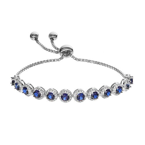 f7836ccab Sterling Silver Lab-Created Sapphire & Cubic Zirconia Bolo Bracelet