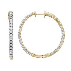10k Gold 1 Carat T.W. Diamond Hoop Earrings