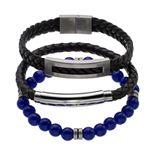 1913 Men's 3-Piece Black Leather & Lab-Created Lapis Lazuli Bracelet Set