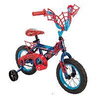 Kids Huffy Marvel Spider-Man 12-Inch Bike with WebTrap Handlebar Plaque