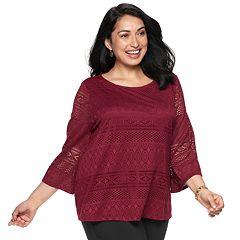 Plus Size Dana Buchman Lace Bell-Sleeve Top