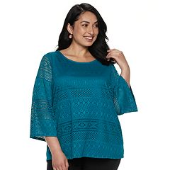 Plus Size Dana Buchman Lace Bell-Sleeve Top