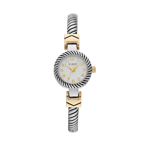 Studio Time Women's Two Tone Textured Bangle Watch
