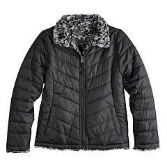 Girls 7-16 SO® Reversible Faux-Fur & Quilted Midweight Jacket