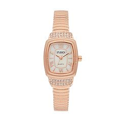 Studio Time Women's Crystal Textured Bangle Watch
